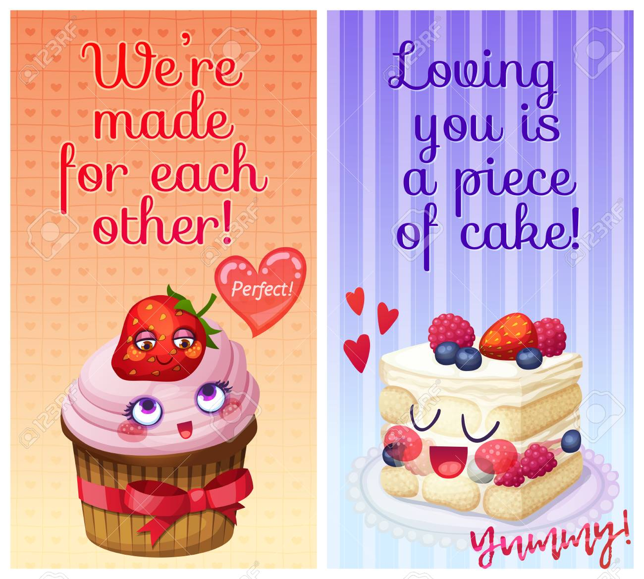 Cute food characters with funny flirty quotes