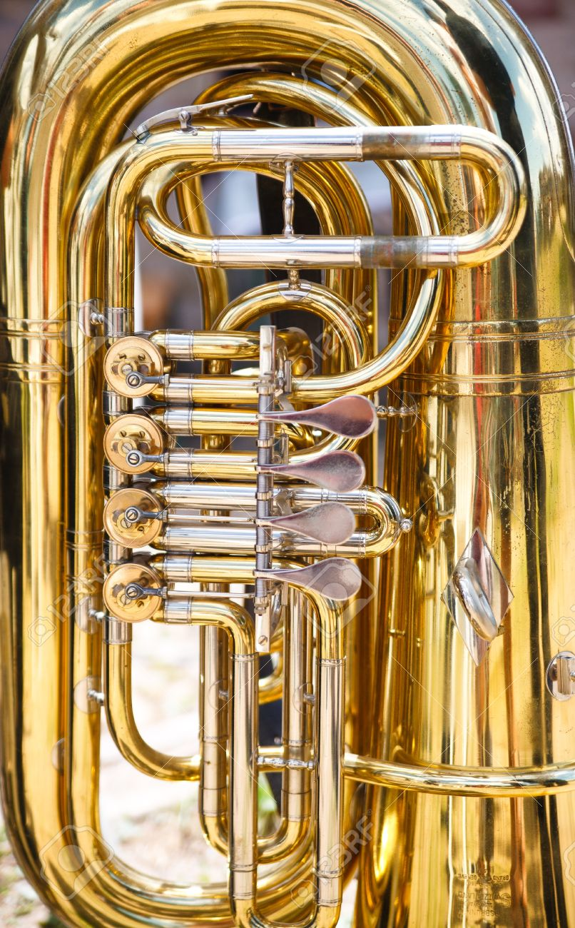 Tuba is a musical instrument made of brass Stock Photo - 9334026