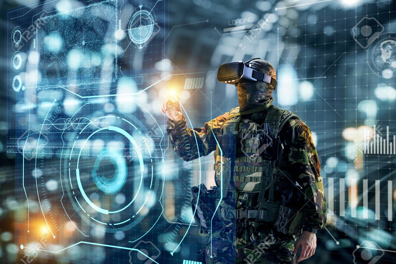 Soldier in glasses of virtual reality. Military concept of the future. - 103154797