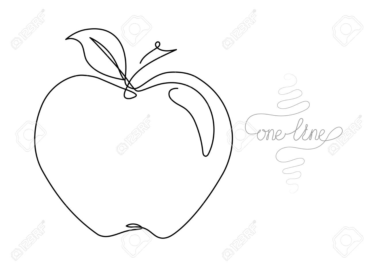 Single Line Drawing Continuous One Line Art Apple Fruit Hand Royalty Free Cliparts Vectors And Stock Illustration Image 115932423