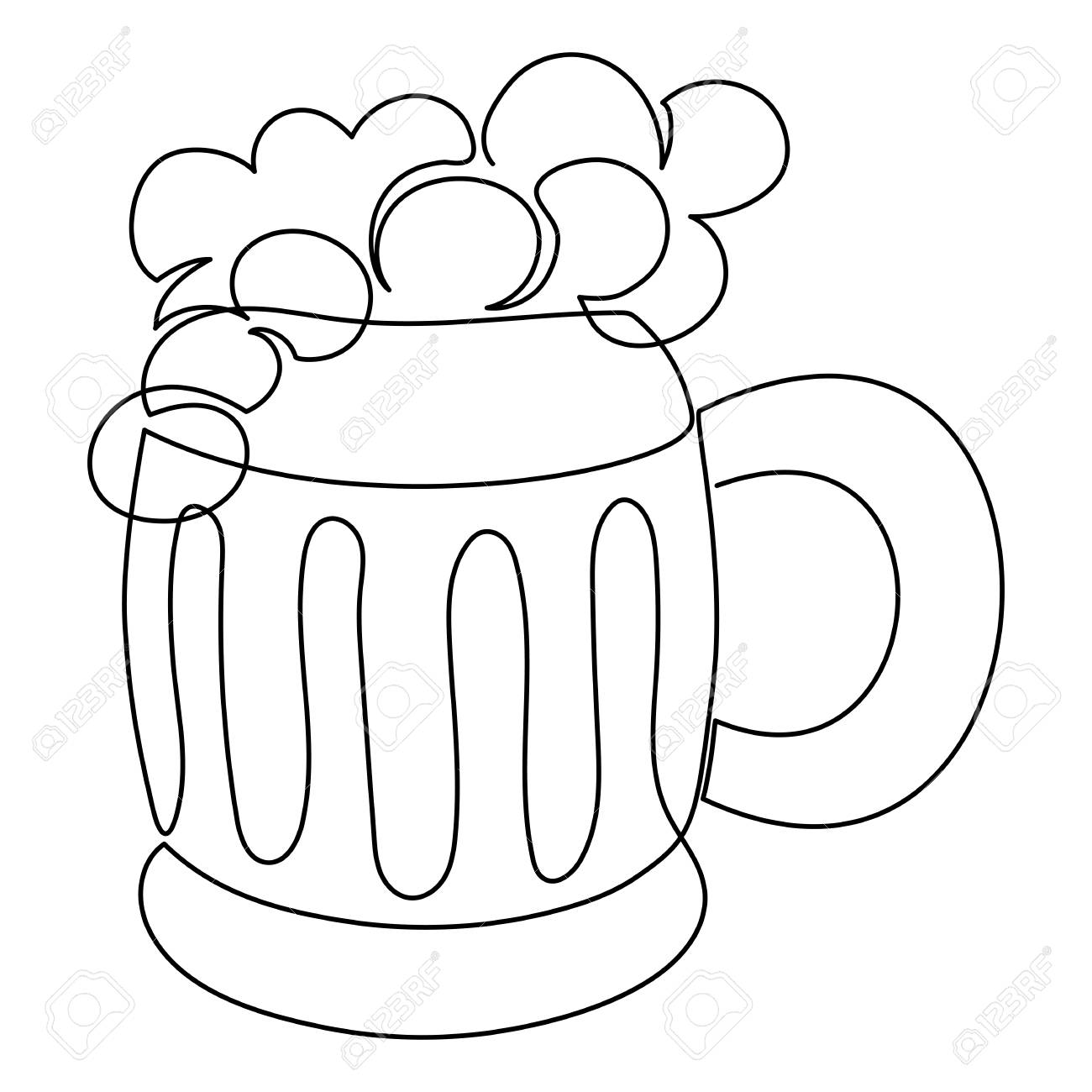 One Line Drawing Continuous Line Art Beer Or Ale Mug Hand Royalty Free Cliparts Vectors And Stock Illustration Image 117335502