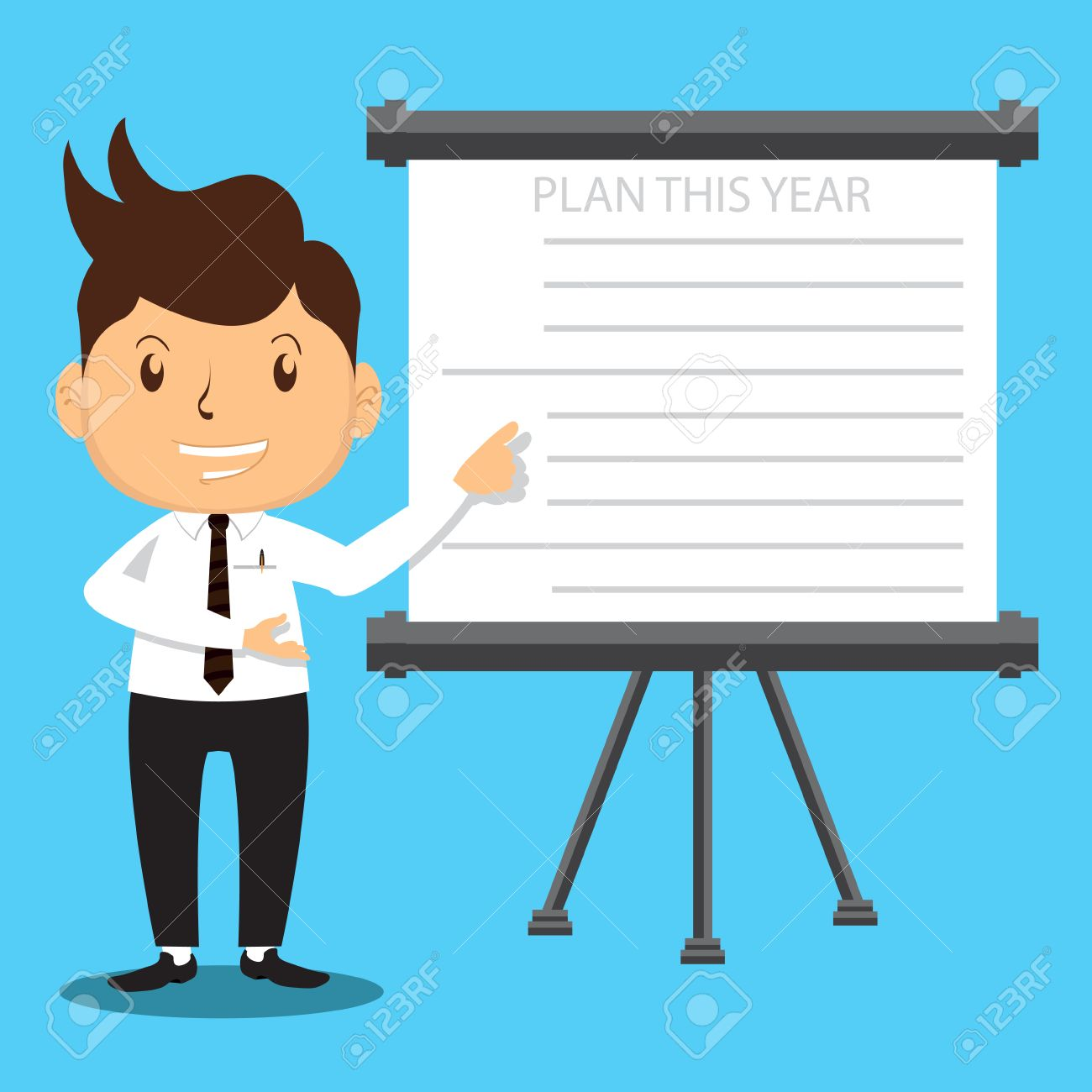 c3dc48c8fc4fc4 Banque d images - Cartoon Bureau Man Personnage la présentation de son plan  d entreprise à réussir sur les ventes ou Projet