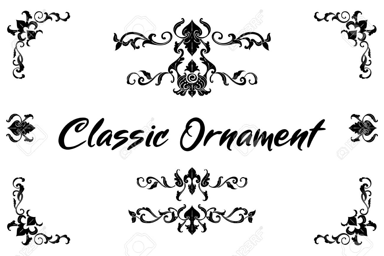 Set of Classic Flourish Ornament Frame Vintage Border Art Decorative - 140197903