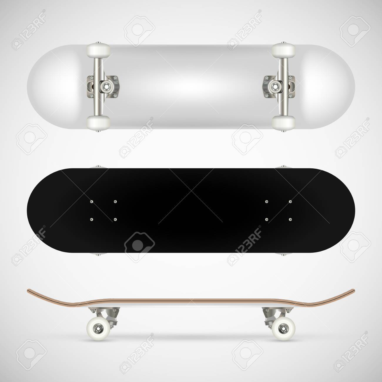realistic blank skateboard template white royalty free cliparts