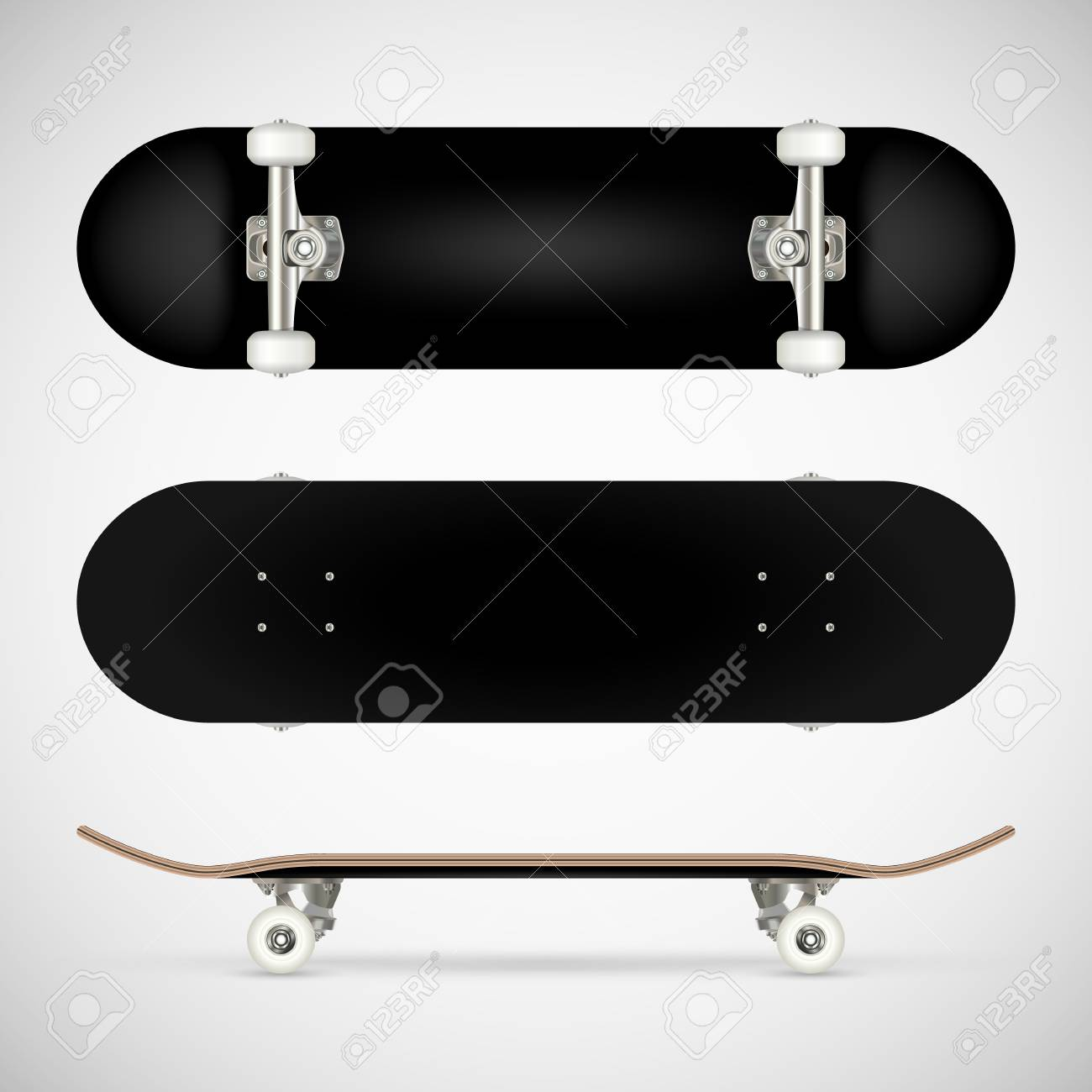 realistic blank skateboard template black royalty free cliparts