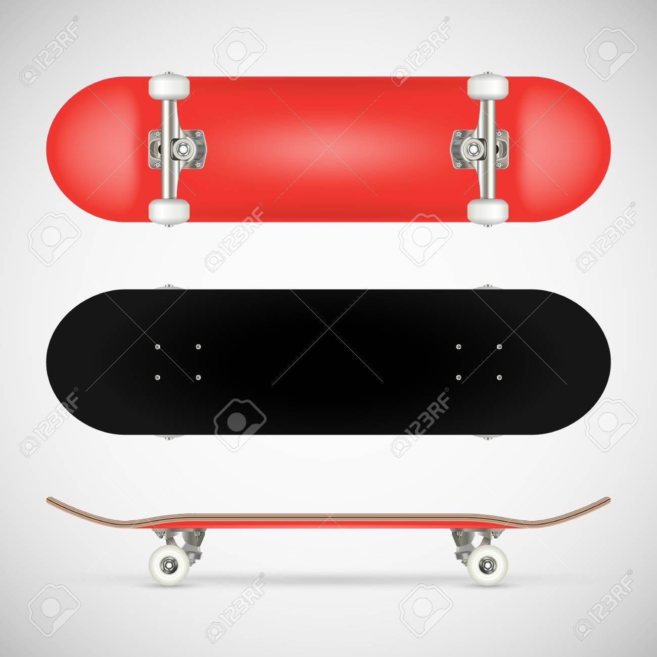 realistic blank skateboard template red stock vector 94447460