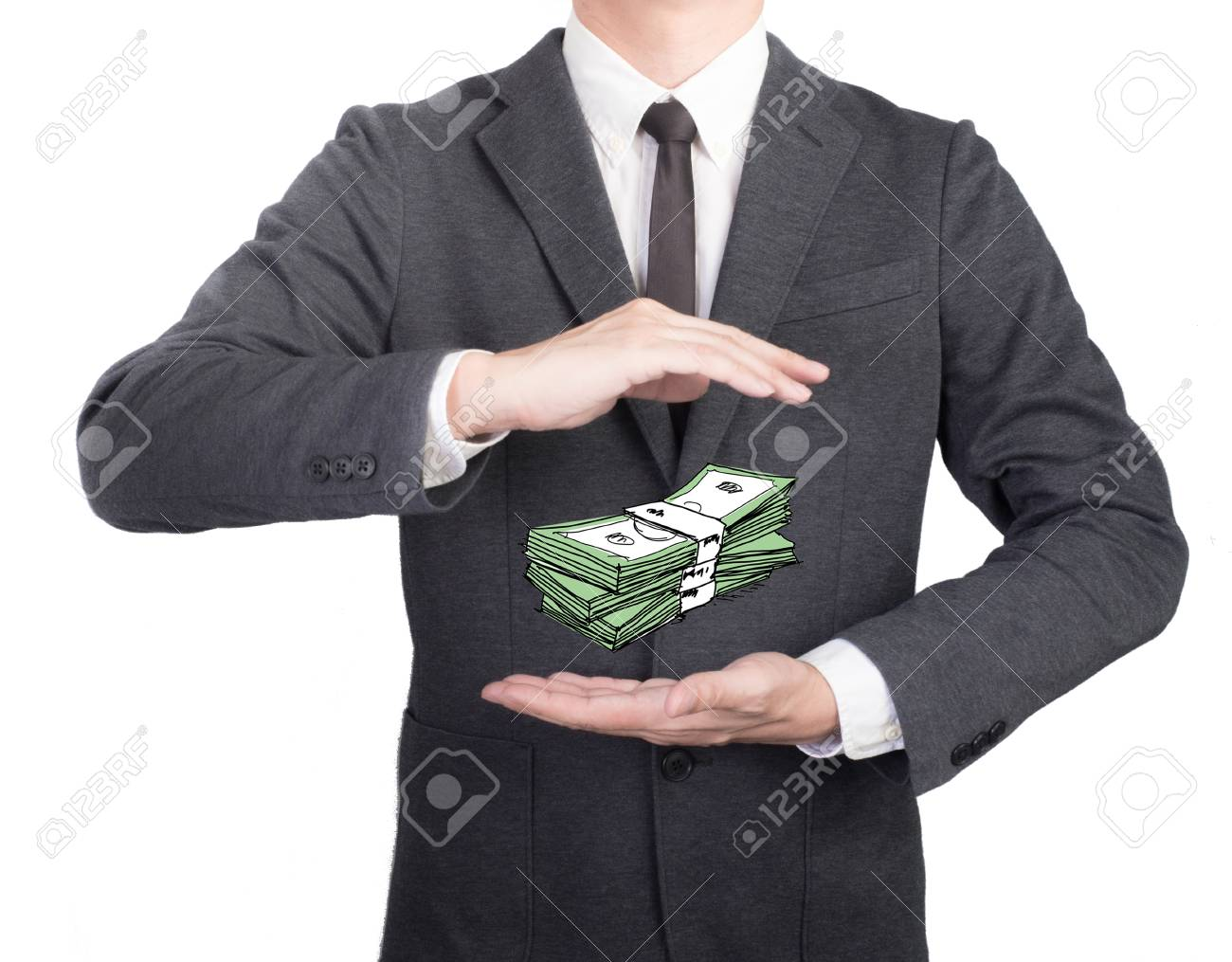 Young Man Giving Empty Hand On Black Background Hands Open Businessman