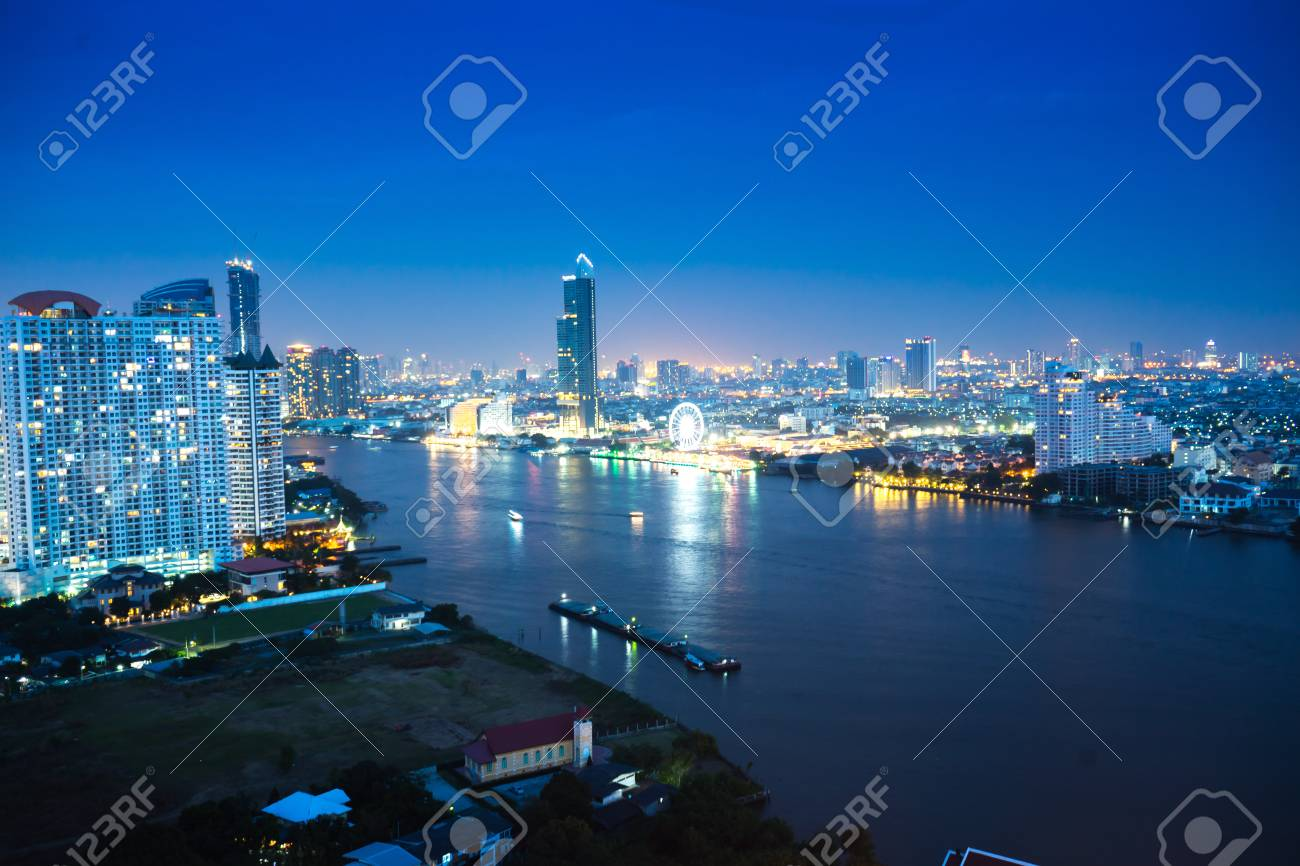 Bangkok River Side Cityscape Bangkok Night View In The Business District At Twilight Panorama View Of Bangkok City Scape At Night Time Vintage