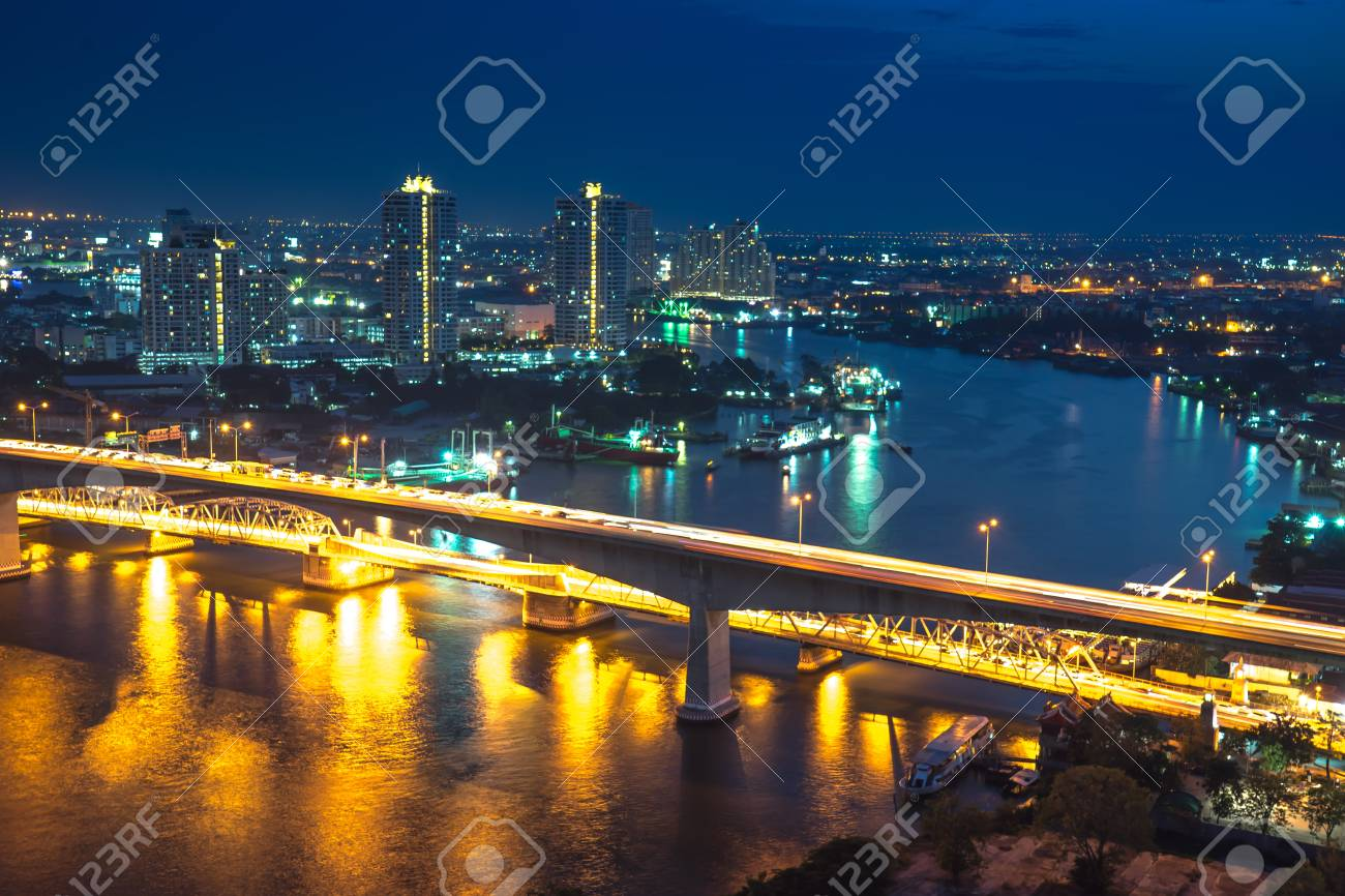Bangkok River Side Cityscape Bangkok Night View In The Business