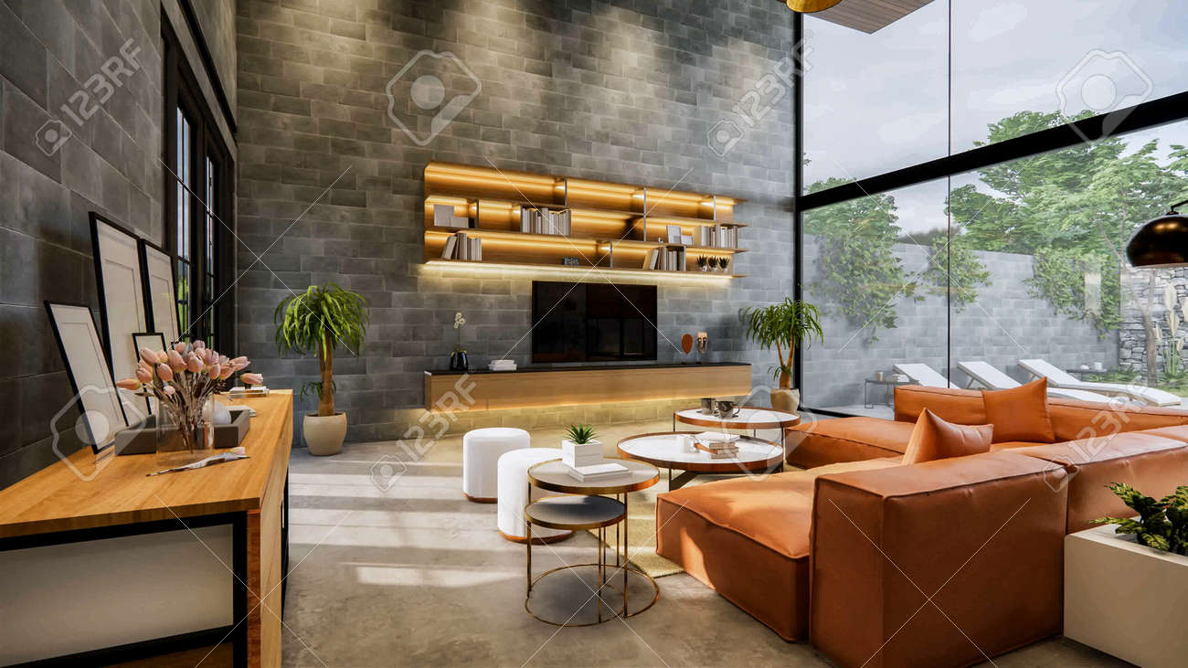 3d rendering. Interior house modern open living space with kitchen.Loft style Duplex residence .Home decoration luxury interior-exterior design.table console decoration object. - 145382842