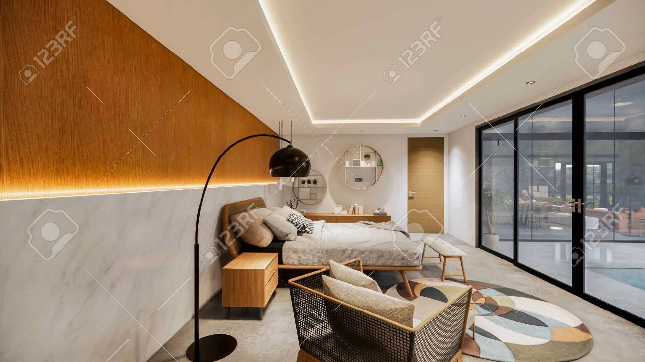 3d Rendering Interior House Or Resort Modern Bedroom Tropical Stock Photo Picture And Royalty Free Image Image 145382860