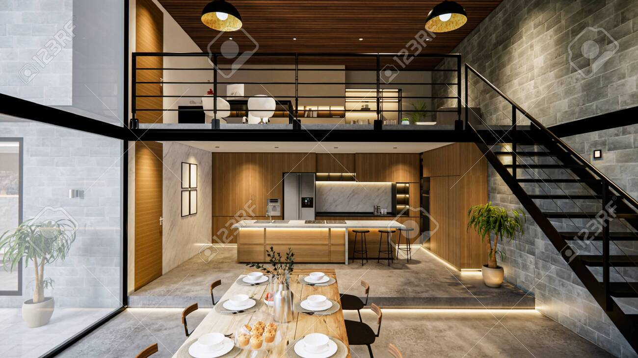 3d Rendering Interior House Modern Open Living Space With Kitchen Loft Stock Photo Picture And Royalty Free Image Image 145383090