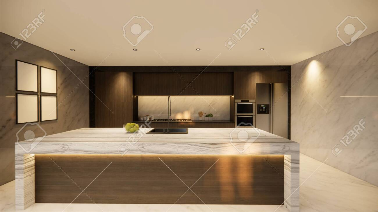 3d Rendering Interior House Modern Open Living Space With Kitchen Luxury Stock Photo Picture And Royalty Free Image Image 147135890