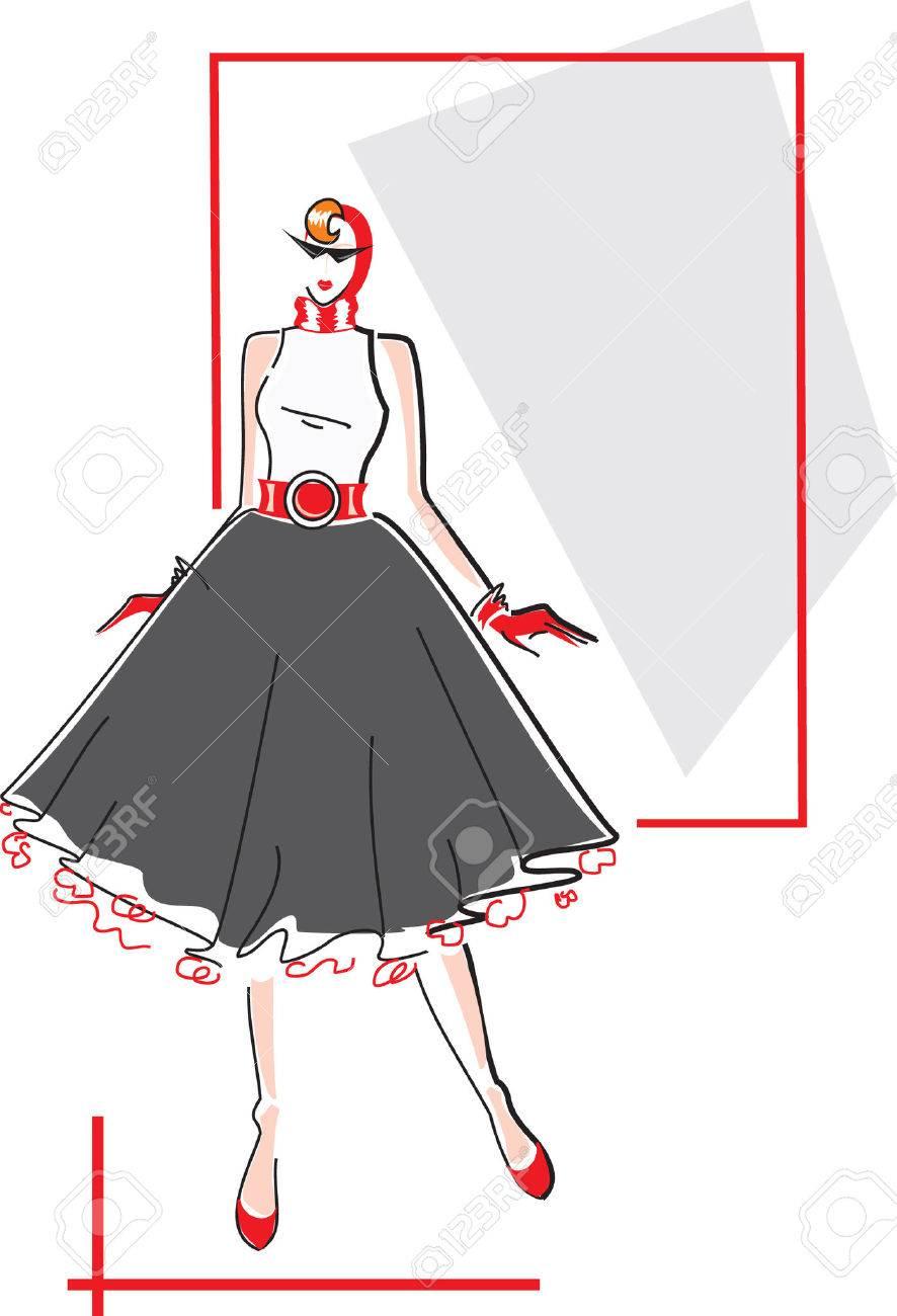 Elegant fashion woman Stock Vector - 8634213