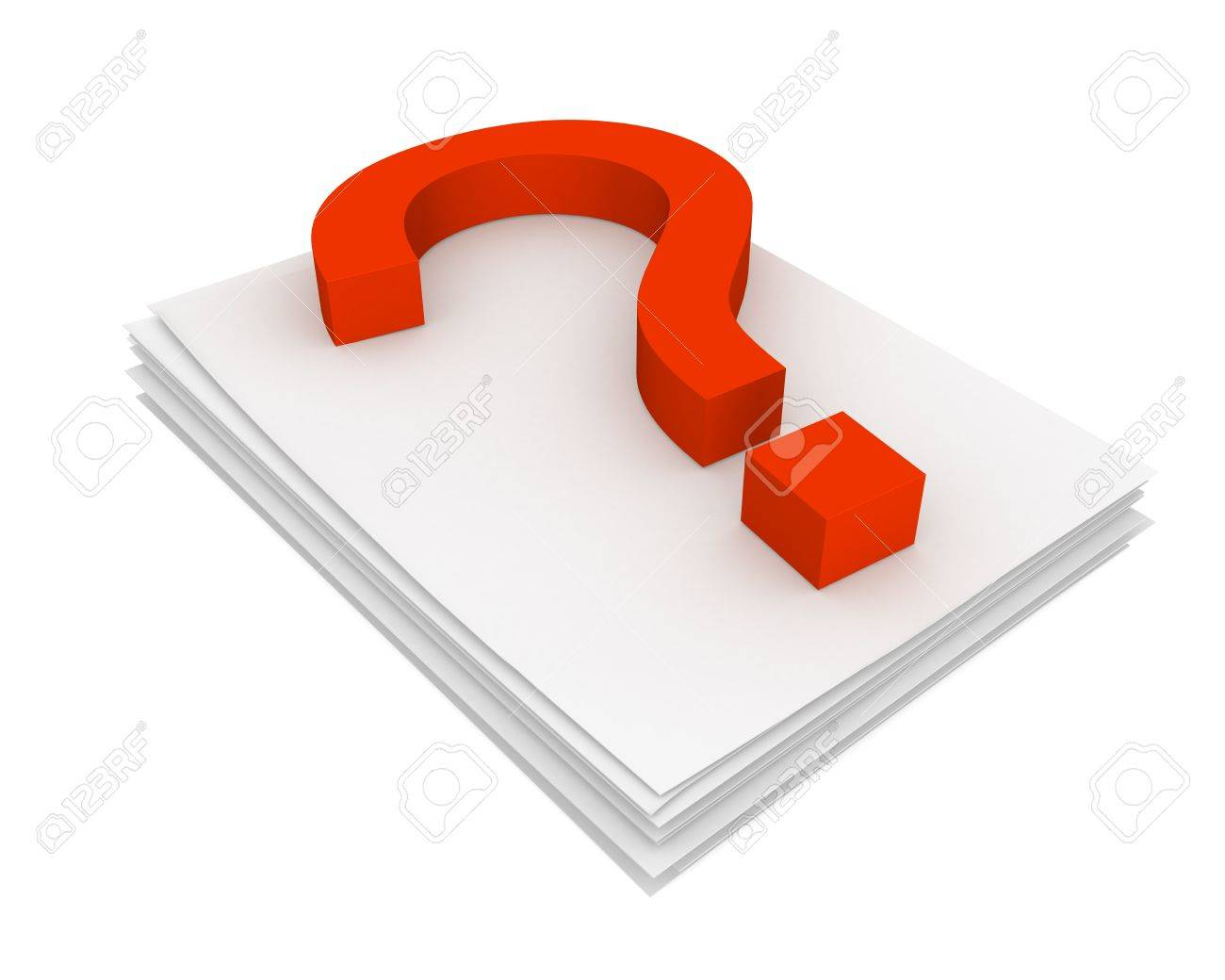 Three-dimensional model - question mark pressed on the pack of paper. - 7674979