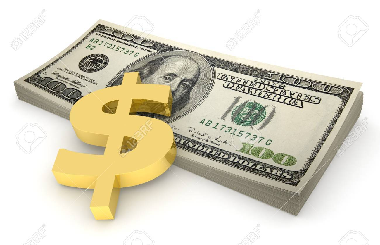 Three-dimensional model - a sheaf of euro pressed down by a golden symbol of dollar. - 7695120