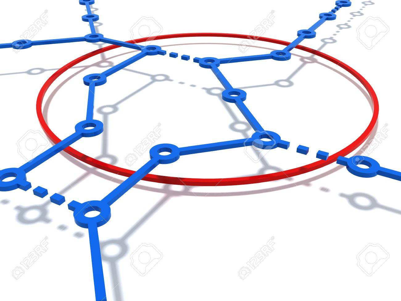 Three-dimensional model - the circuit of lines of the underground on a white background with a shadow. - 7744445