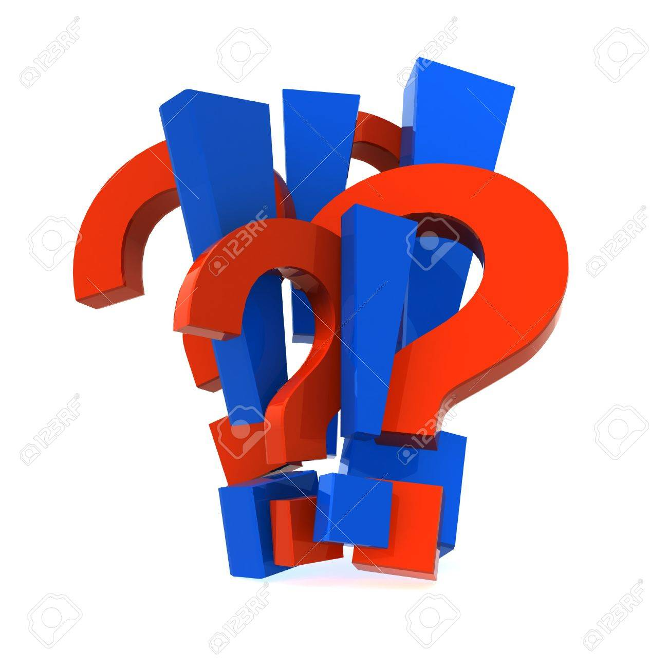 Three-dimensional model of symbols - a mark of a question and an exclamation mark. Stock Photo - 7744333