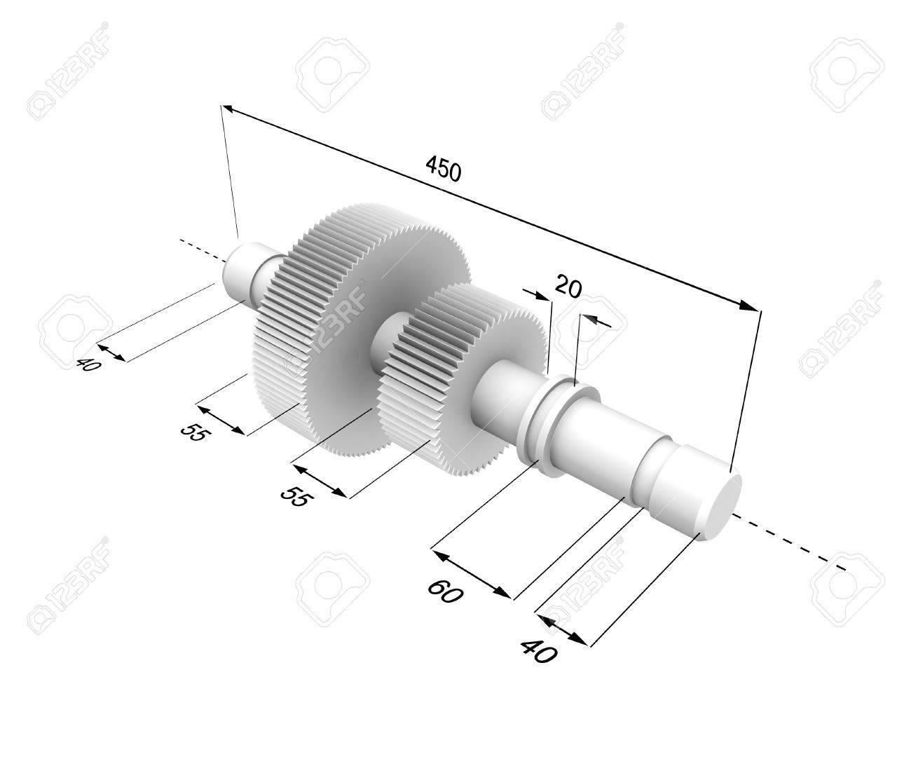 Three-dimensional model of a metal detail with the designated sizes. - 7744332