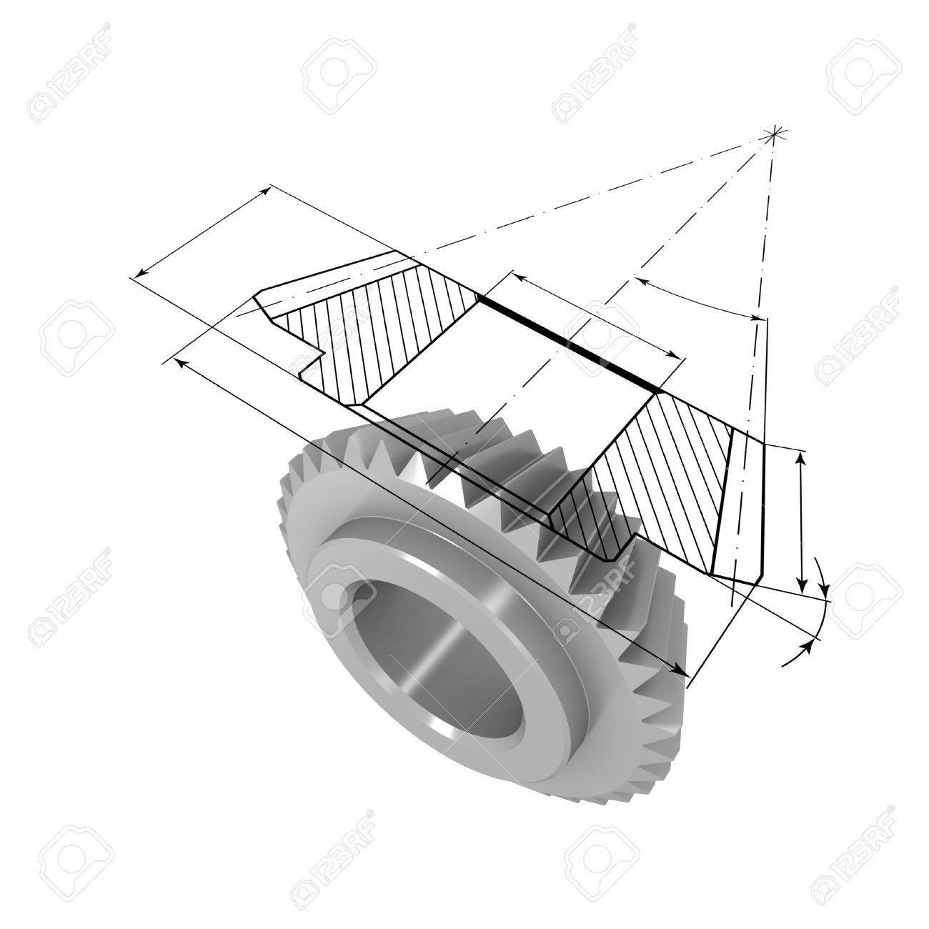 Three-dimensional model of bevel gear. On top of the model is projected onto the drawing. - 7788835