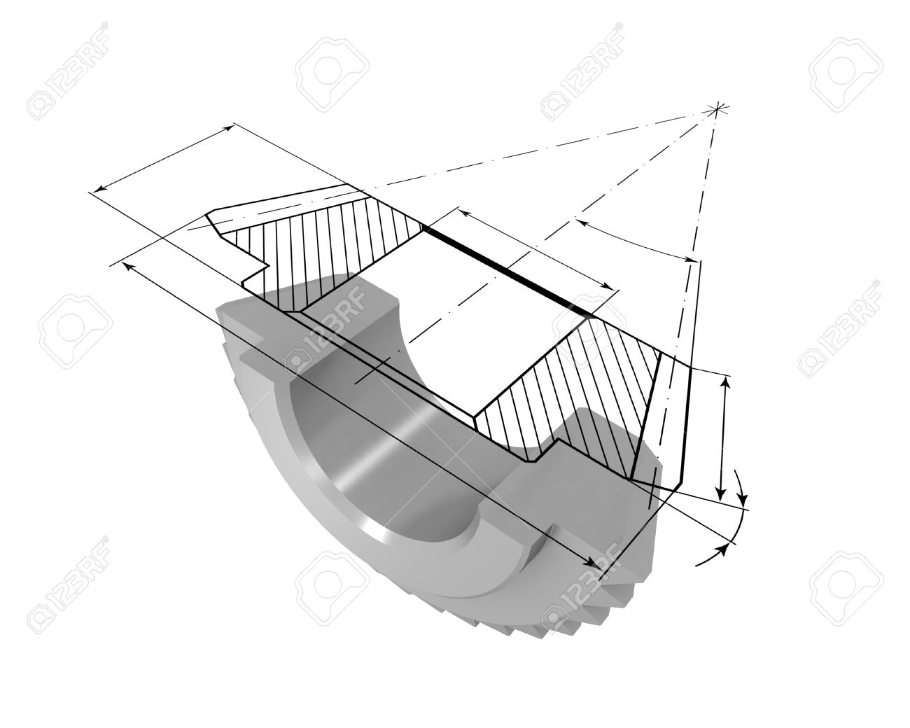 Three-dimensional model bevel gear in the section. On top of the model is projected onto the drawing. - 7788908