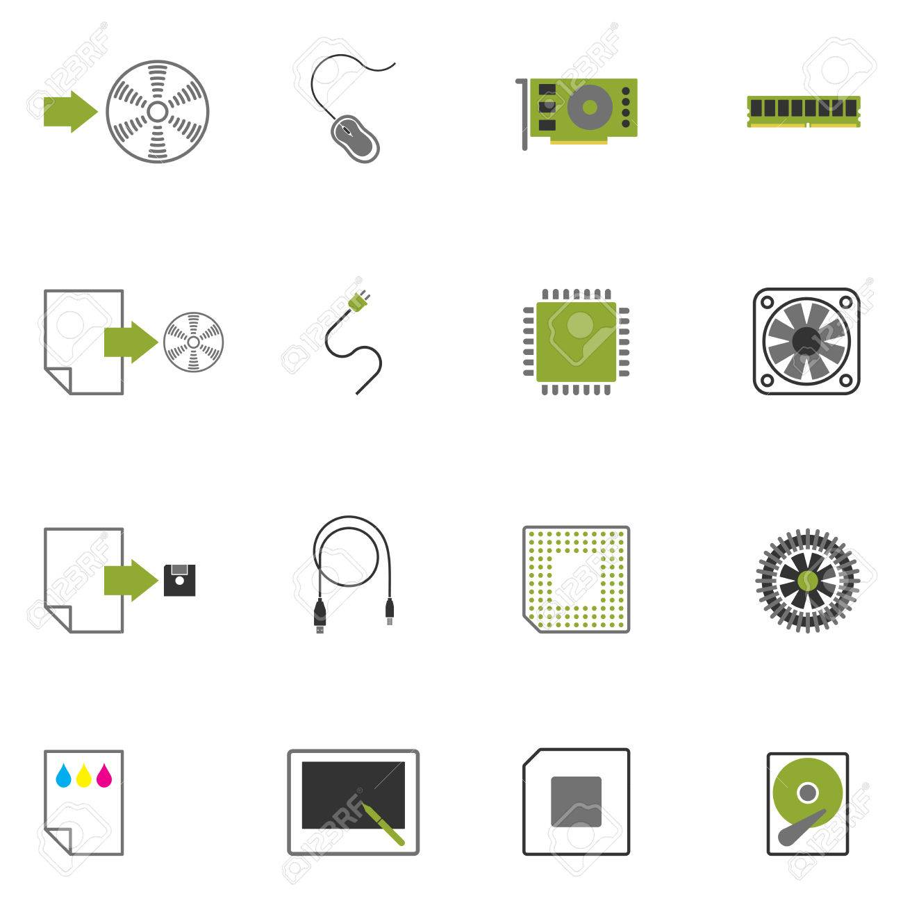 icons with images of computer accessories. - 7881046