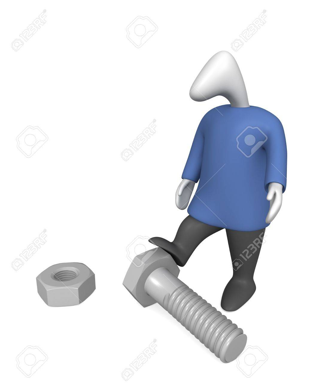 Three-dimensional image - a man stands near the bolt and nut. - 8195596