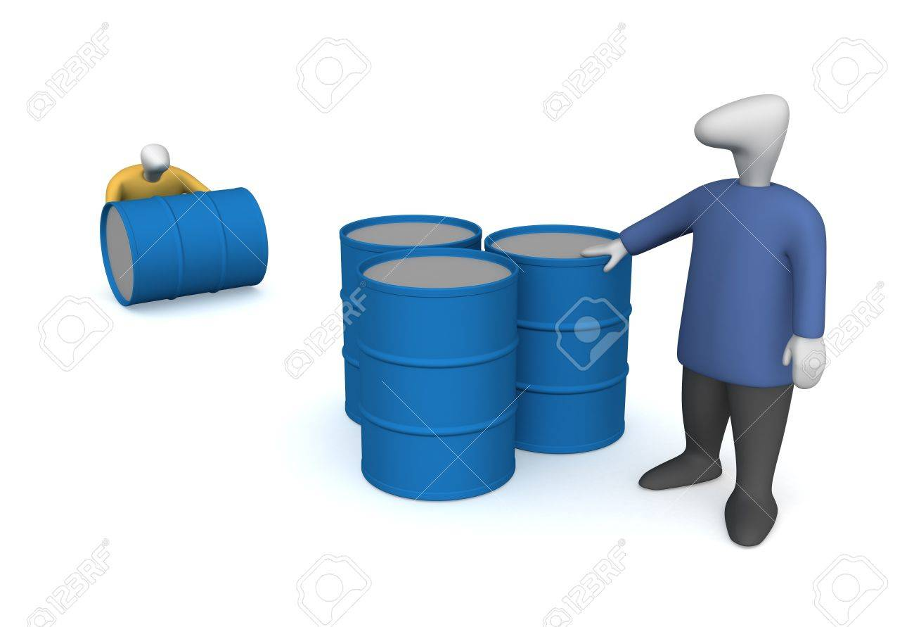Three-dimensional image - people to pull the barrel of oil. - 8195611