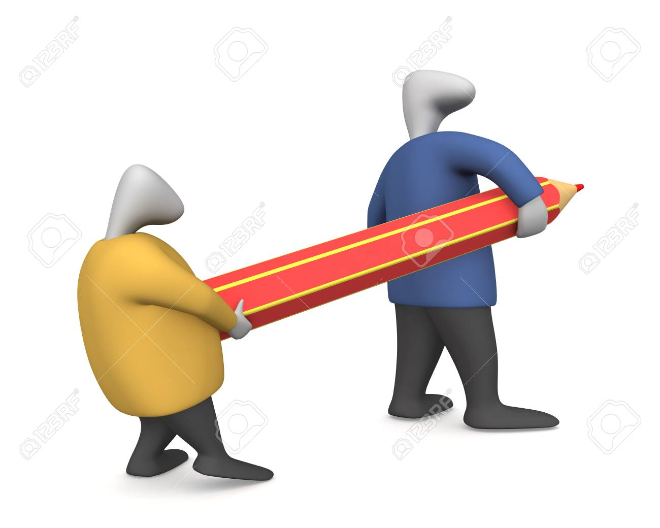 Threedimensional image - two men drag the pencil. - 8195601