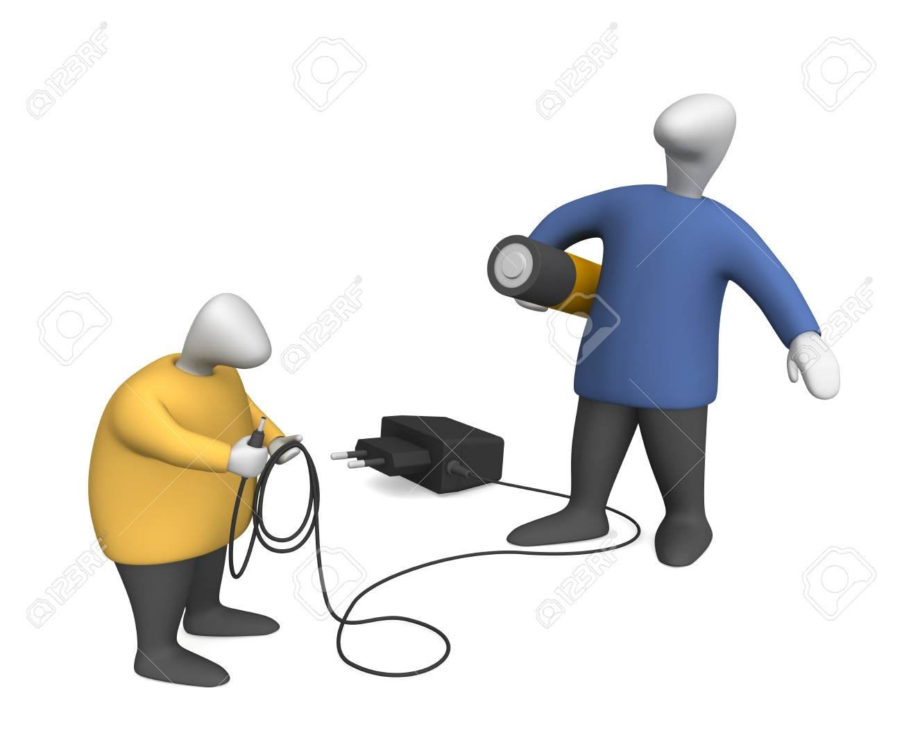 Three-dimensional image - men with power supply. - 8195602