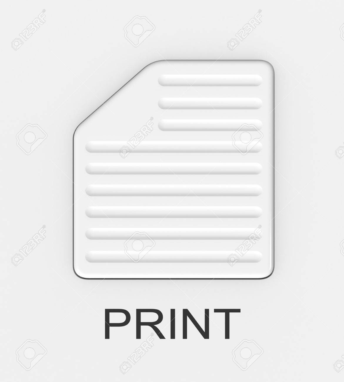 Three-dimensional image - the button in the form of a sheet of paper with the inscription &quot,Print&quot, - 8195582