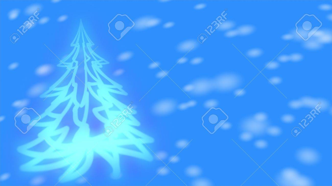 Christmas background - glowing Christmas tree and snowflakes. - 8195600