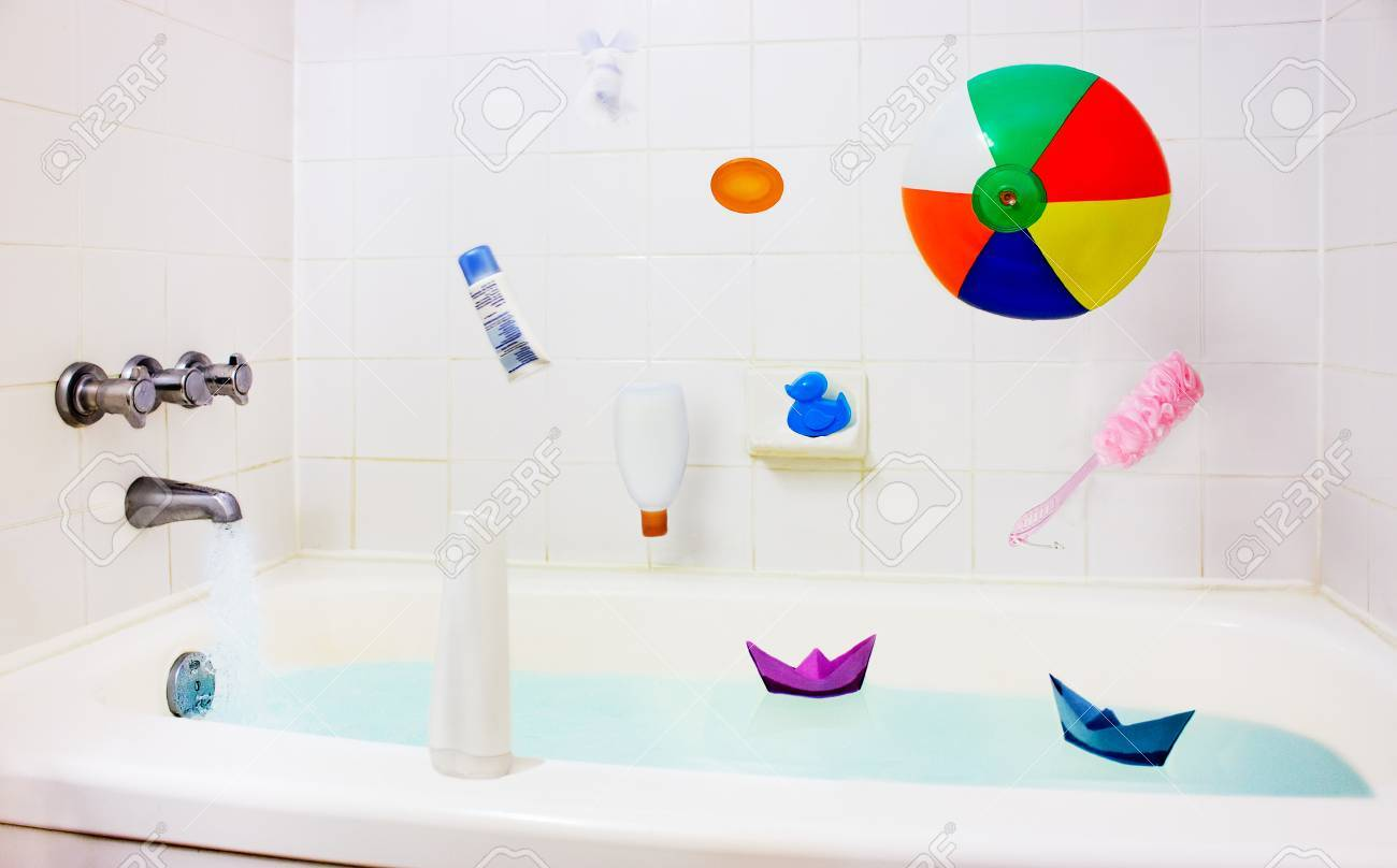 Bathroom Clean Home Interior. Colorful Child Toys And Accessories ...