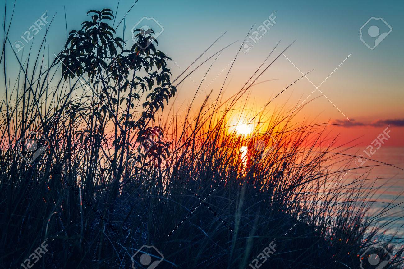 Beautiful Evening Sunset Landscape At Canadian Ontario Lake Huron In Pinery Park Orange Blue Red