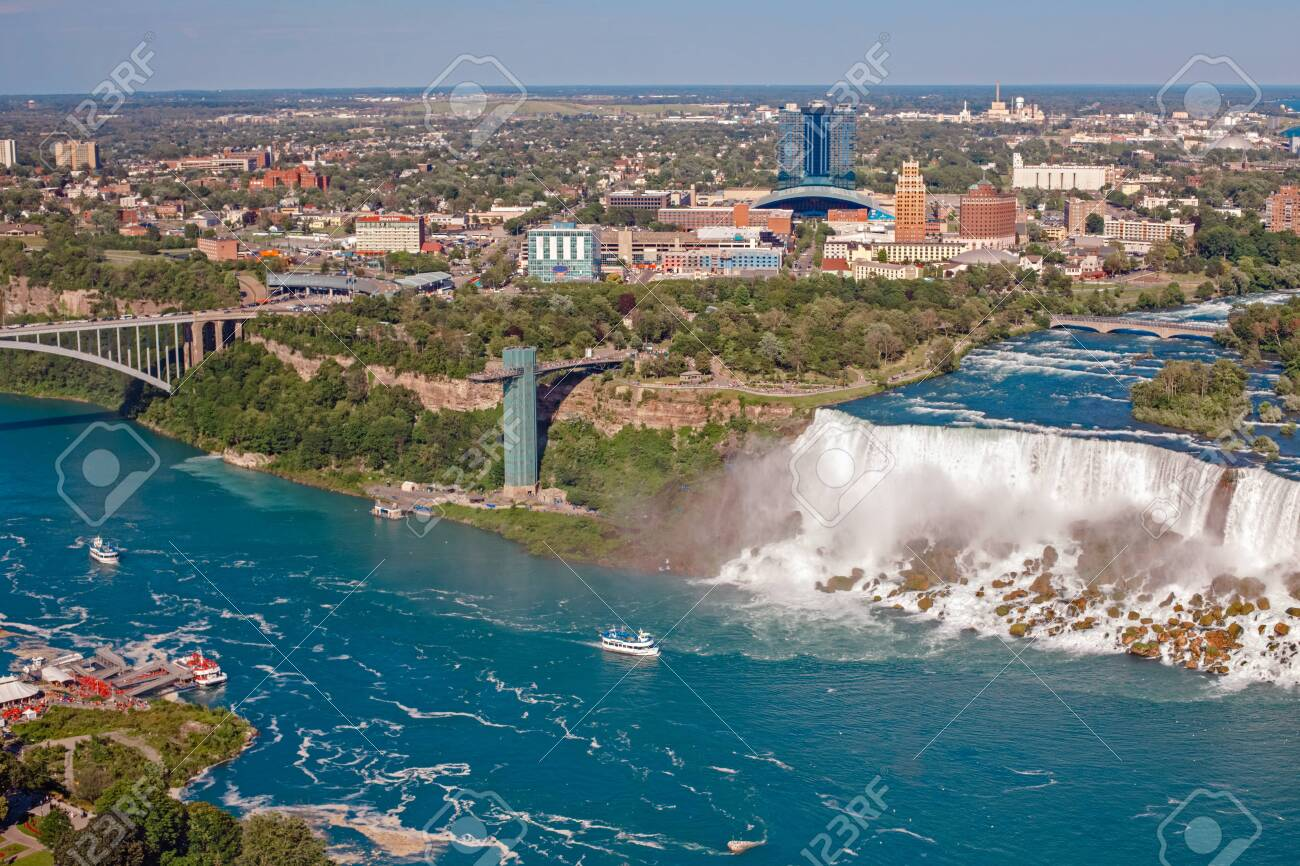 Aerial Top Landscape View Of Niagara Falls Between United States