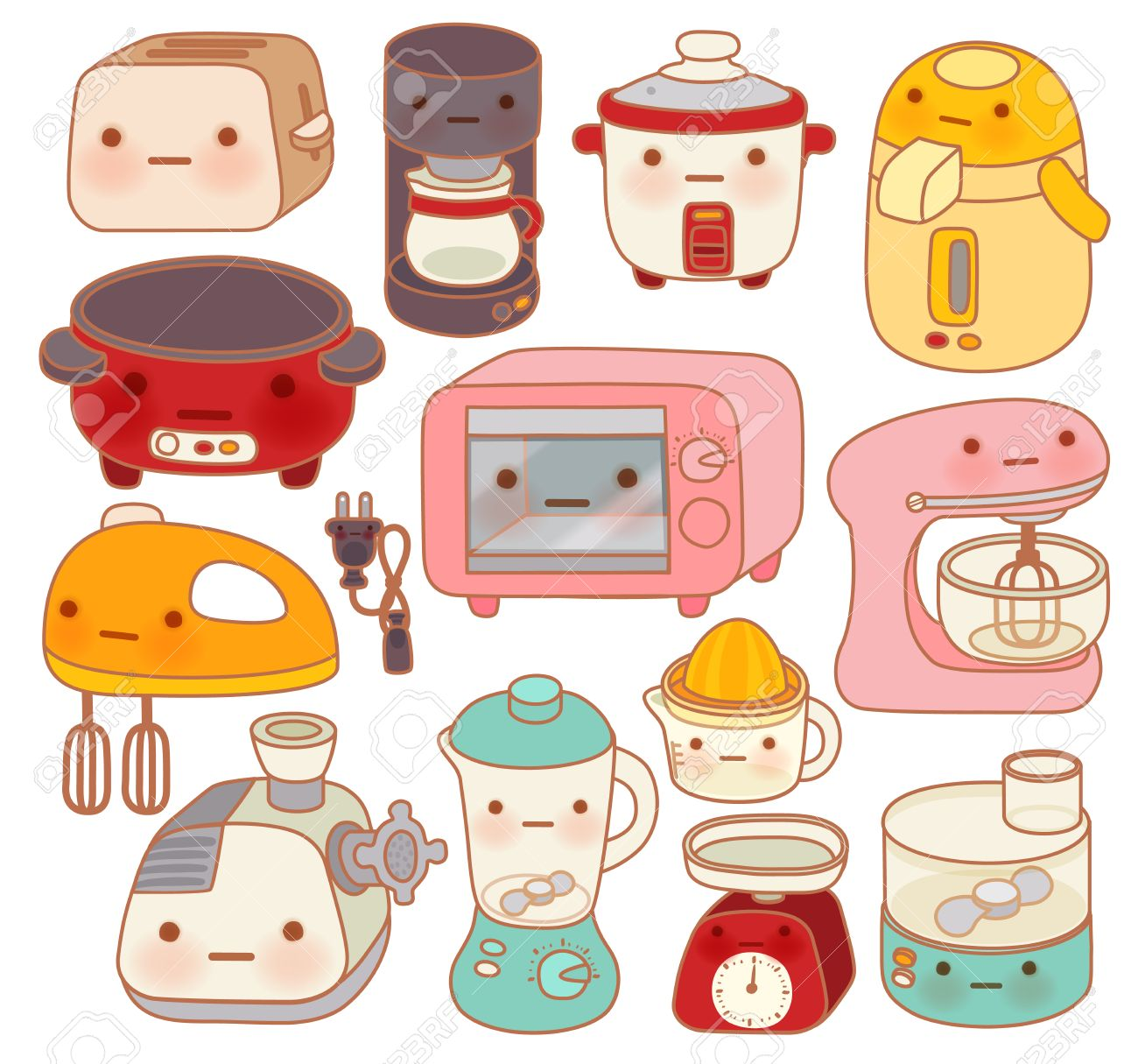 Uncategorized Cute Kitchen Appliances set of adorable kitchen appliances cute kettle lovely oven sweet blender isolated on