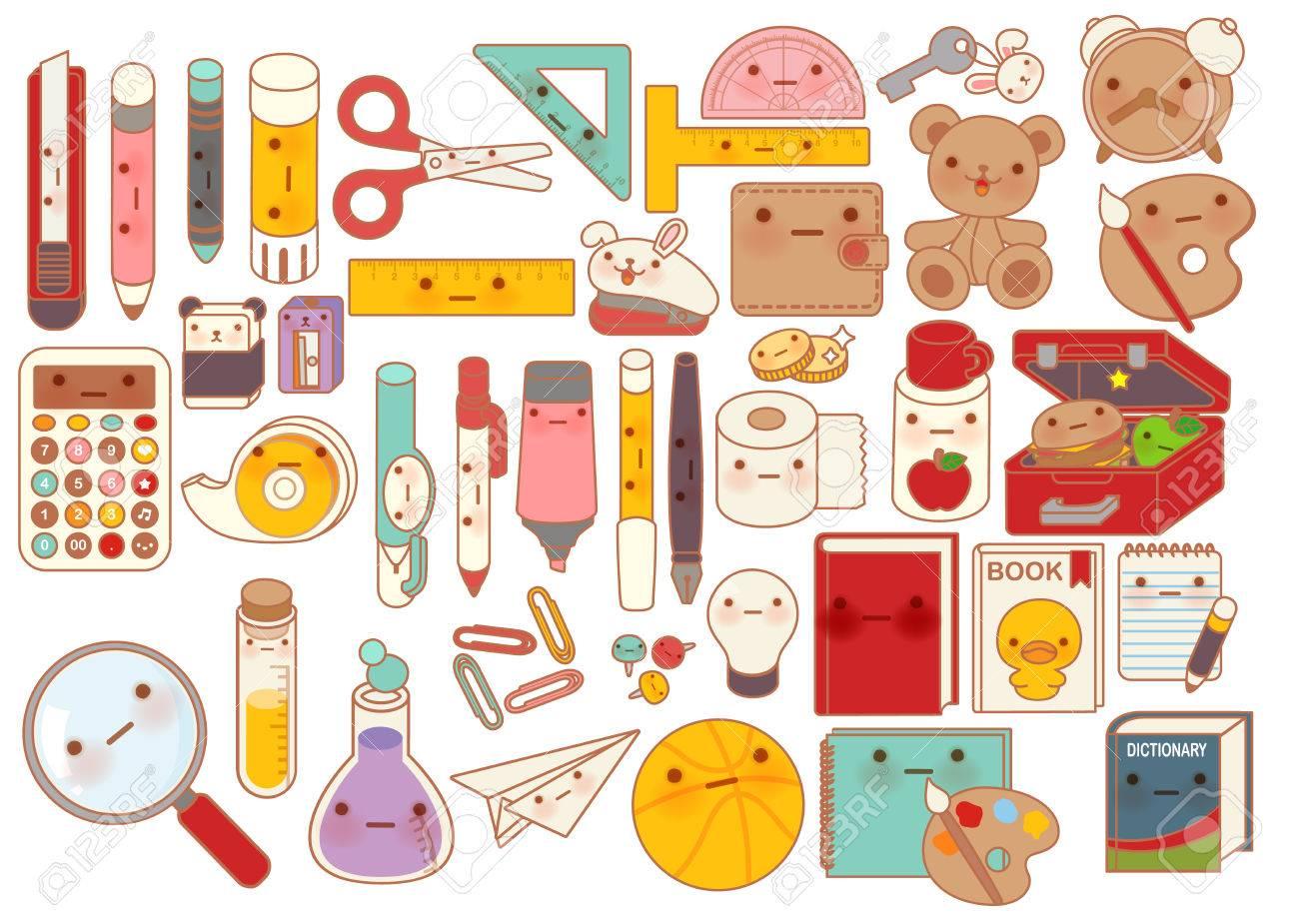 Collection De Beau Bebe Papeterie Icone Caractere Griffonnage Crayon Mignon Adorable Ours En Peluche Poupee Lunchbox Doux Livre Kawaii Stylo