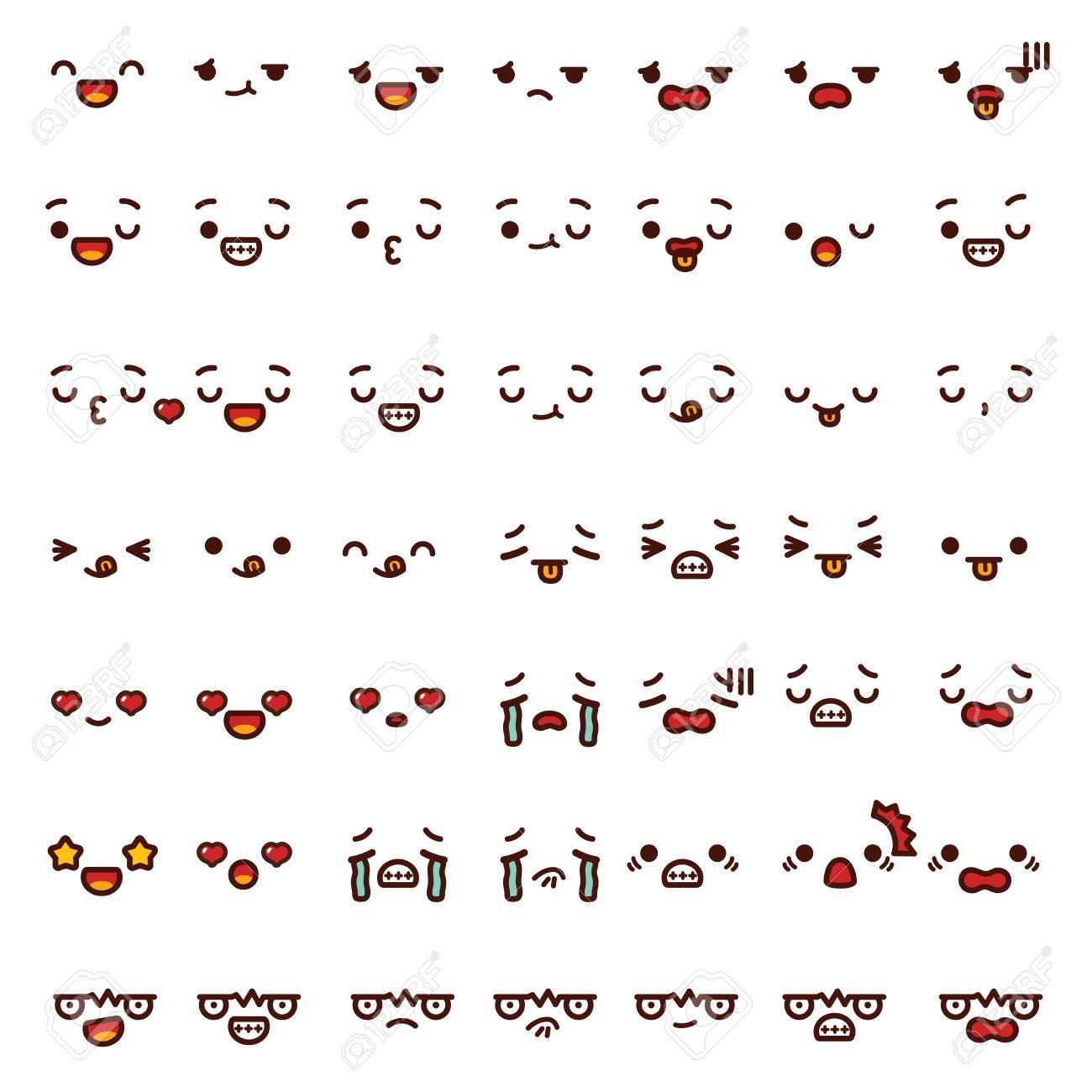 Preciosa Colección De Emoticono De Una Cara Linda De La Historieta Emoji Doodle Enojado Feliz Guiño Divertido Triste Choque Grito En El Amor