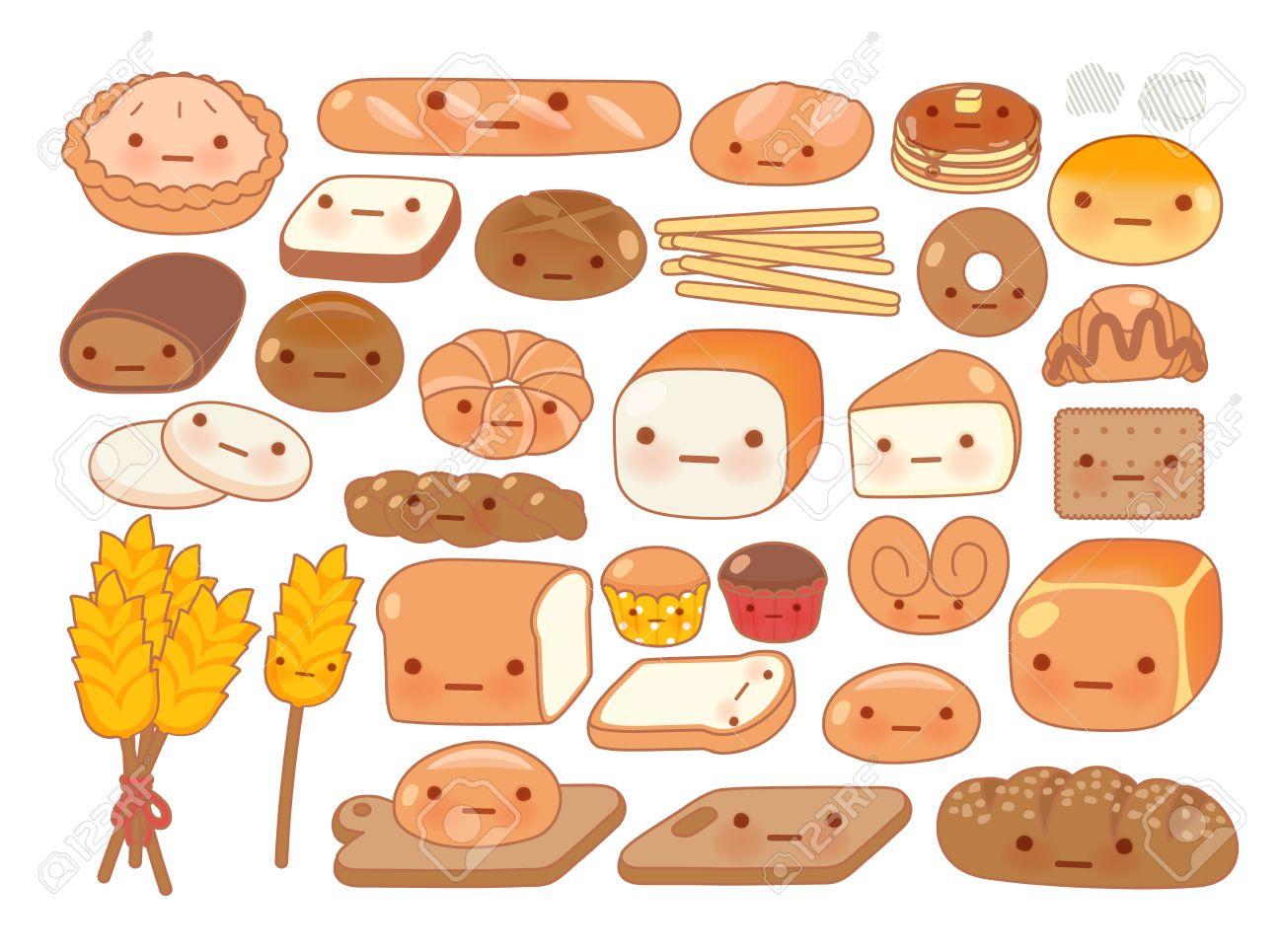 可愛い赤ちゃんベーカリー食品落書きアイコンかわいい白パン愛らしい