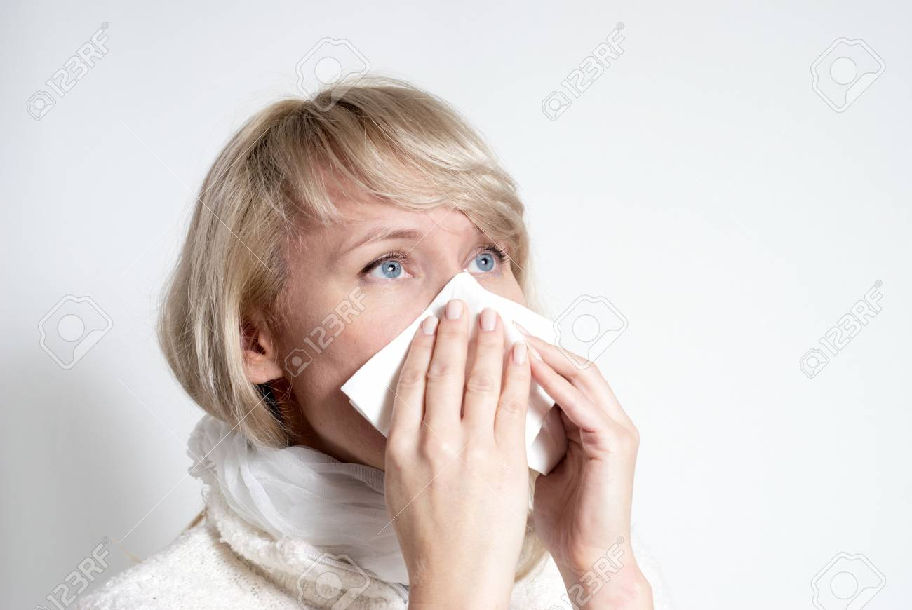 female having a cold. Isolated Stock Photo - 5482139