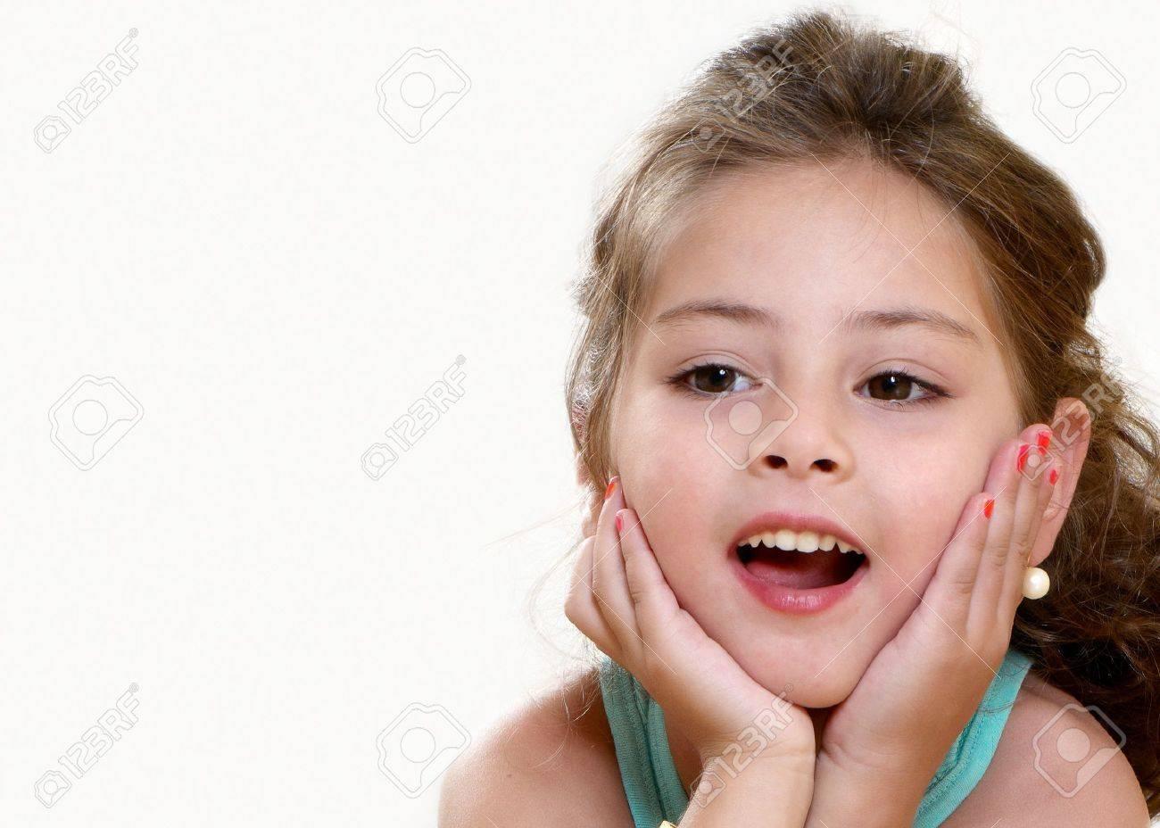 435d93fec24 little girl portrait in light background Stock Photo - 7953104