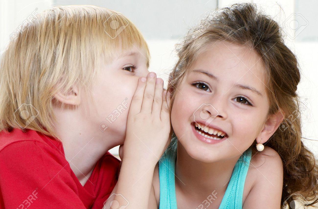 Portrait happy kids on light background Standard-Bild - 7953139