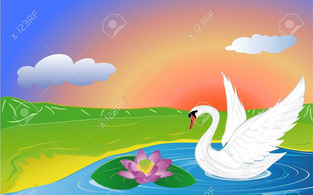 swan and lotus on lake in mountain Stock Vector - 15298202