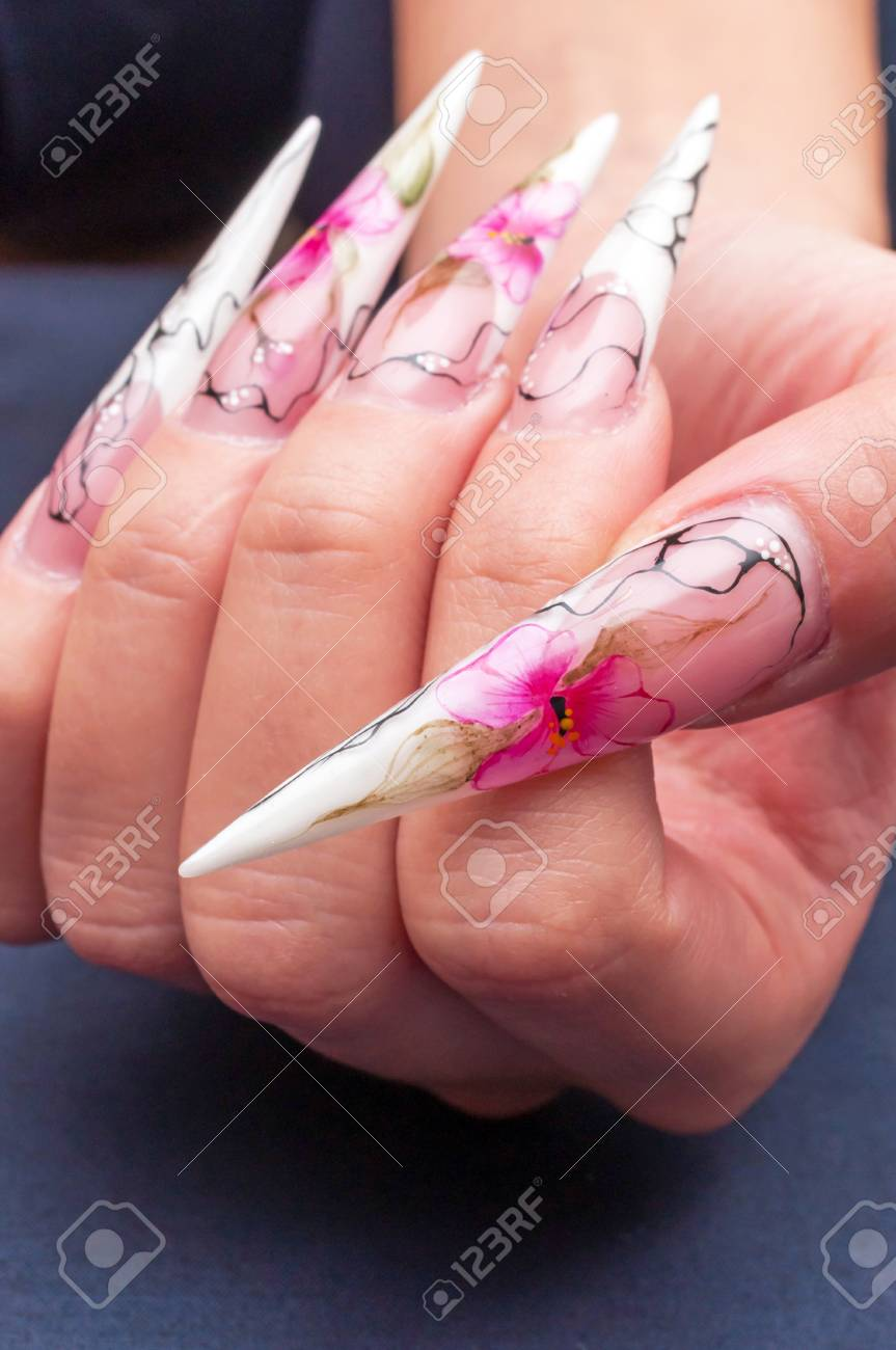 Flower Painted On A Long Artificial Nails Stock Photo, Picture And ...
