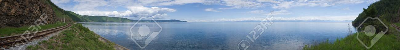 Panoramic photo of lake Baikal with Circum-Baikal Road, the historical part of Trans-Siberian railway. XXXL. Lake Baikal contents about 1/5 of world reserve of sweet water. Stock Photo - 4287378