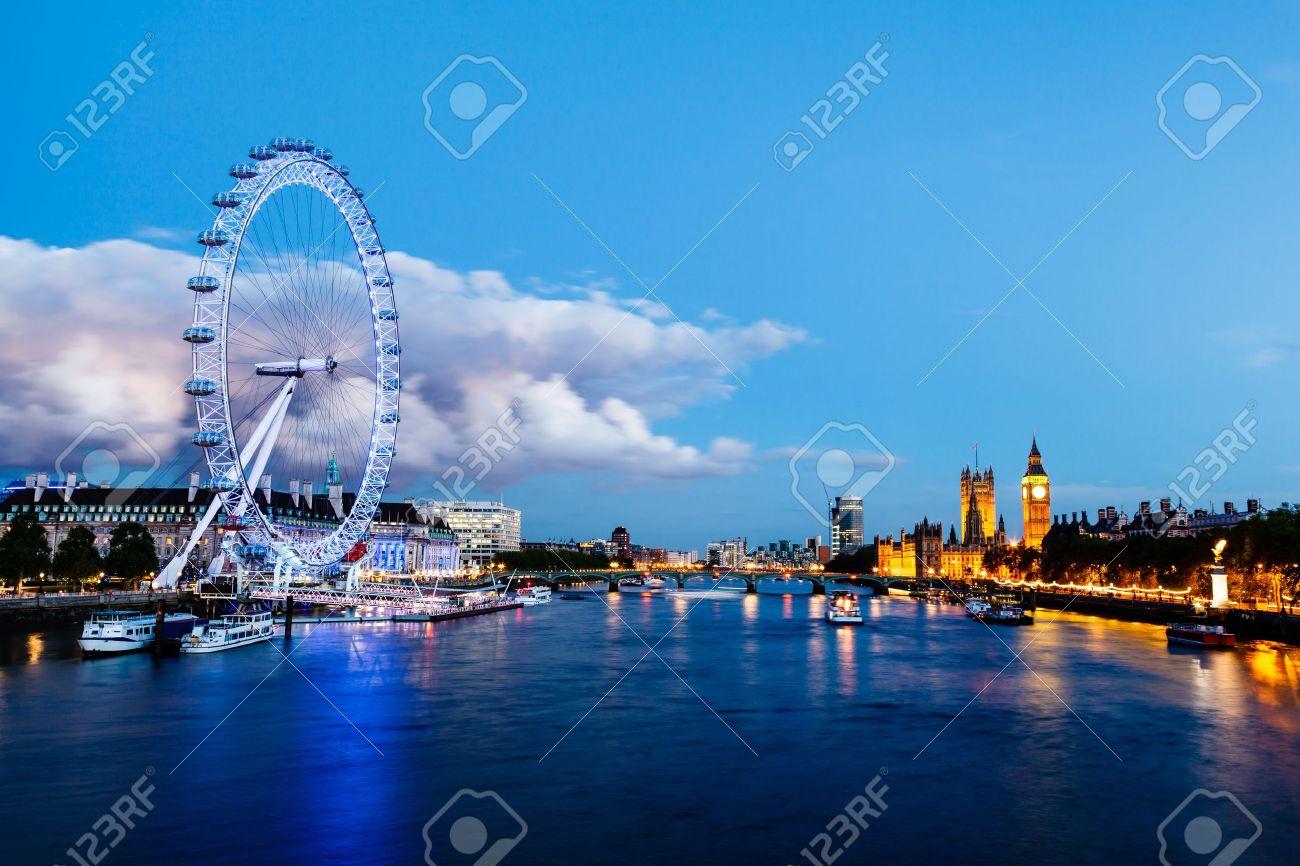 London Eye, Westminster Bridge and Big Ben in the Evening, London, United Kingdom Stock Photo - 14143978