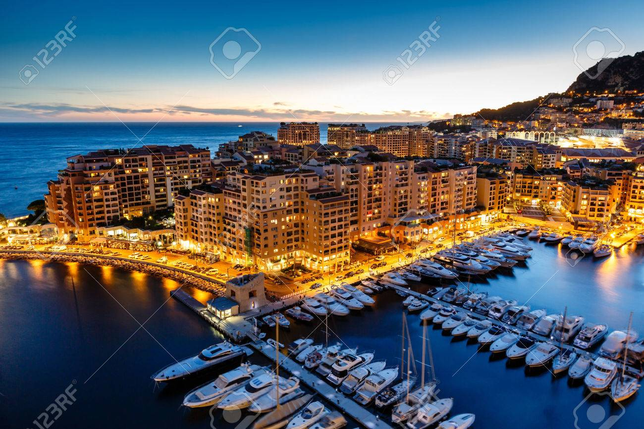 Aerial View on Fontvieille and Monaco Harbor with Luxury Yachts, French Riviera - 24290829