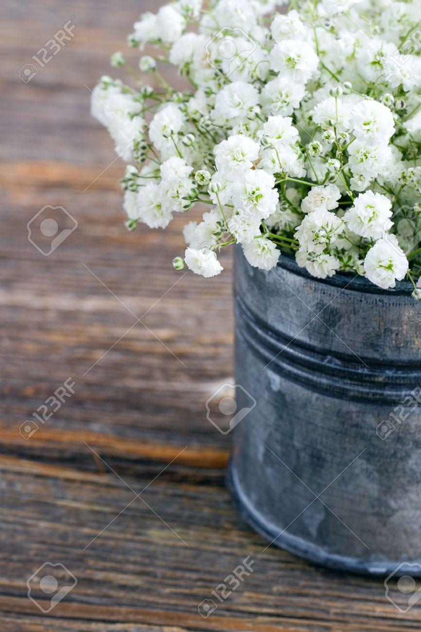 Bouquet of white babys breath flowers gypsophila on wooden bouquet of white babys breath flowers gypsophila on wooden rustic background stock photo izmirmasajfo