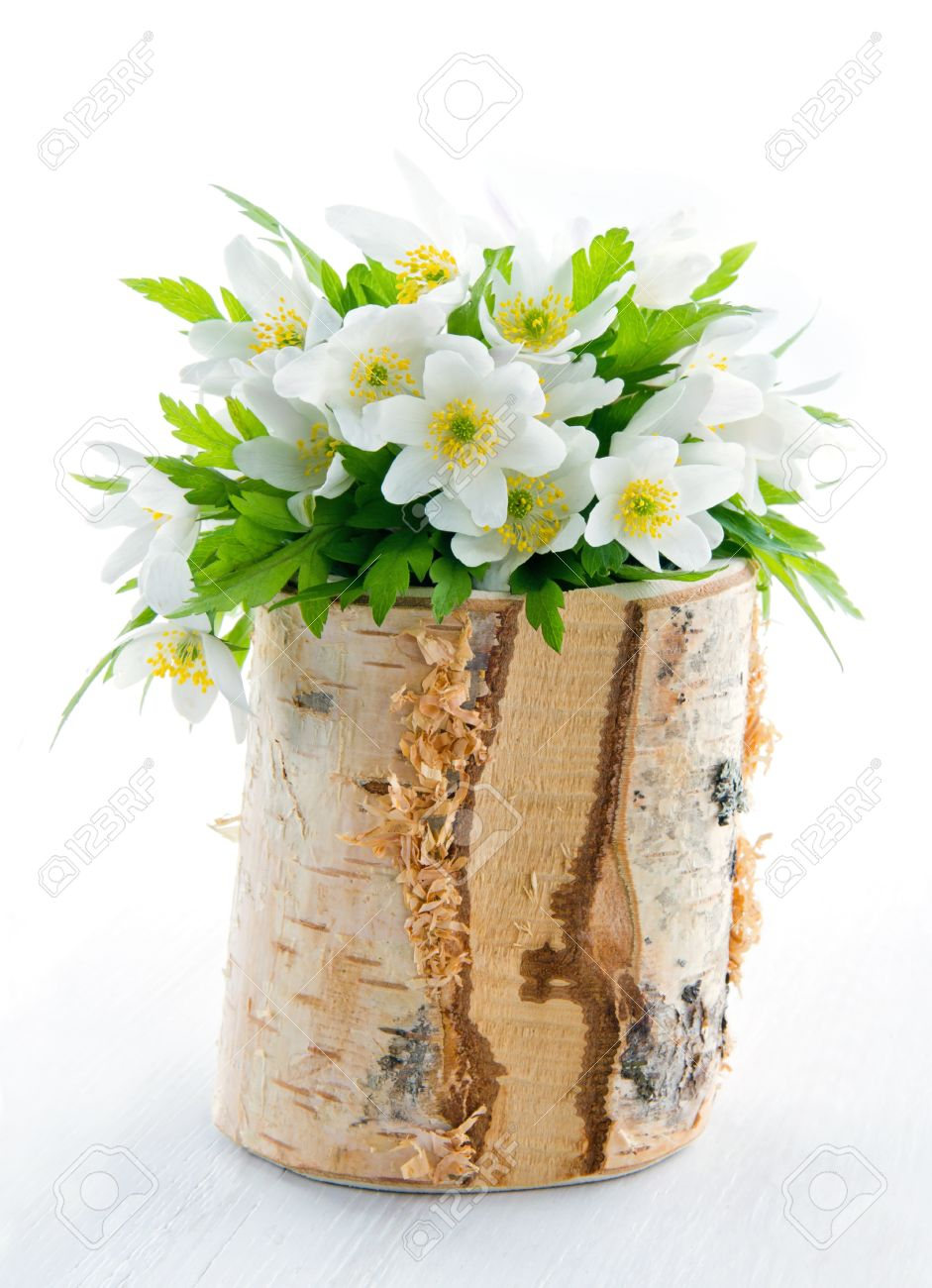 Bouquet Of White Spring Flowers, Wood Anemones, In A Rustic Wooden ...