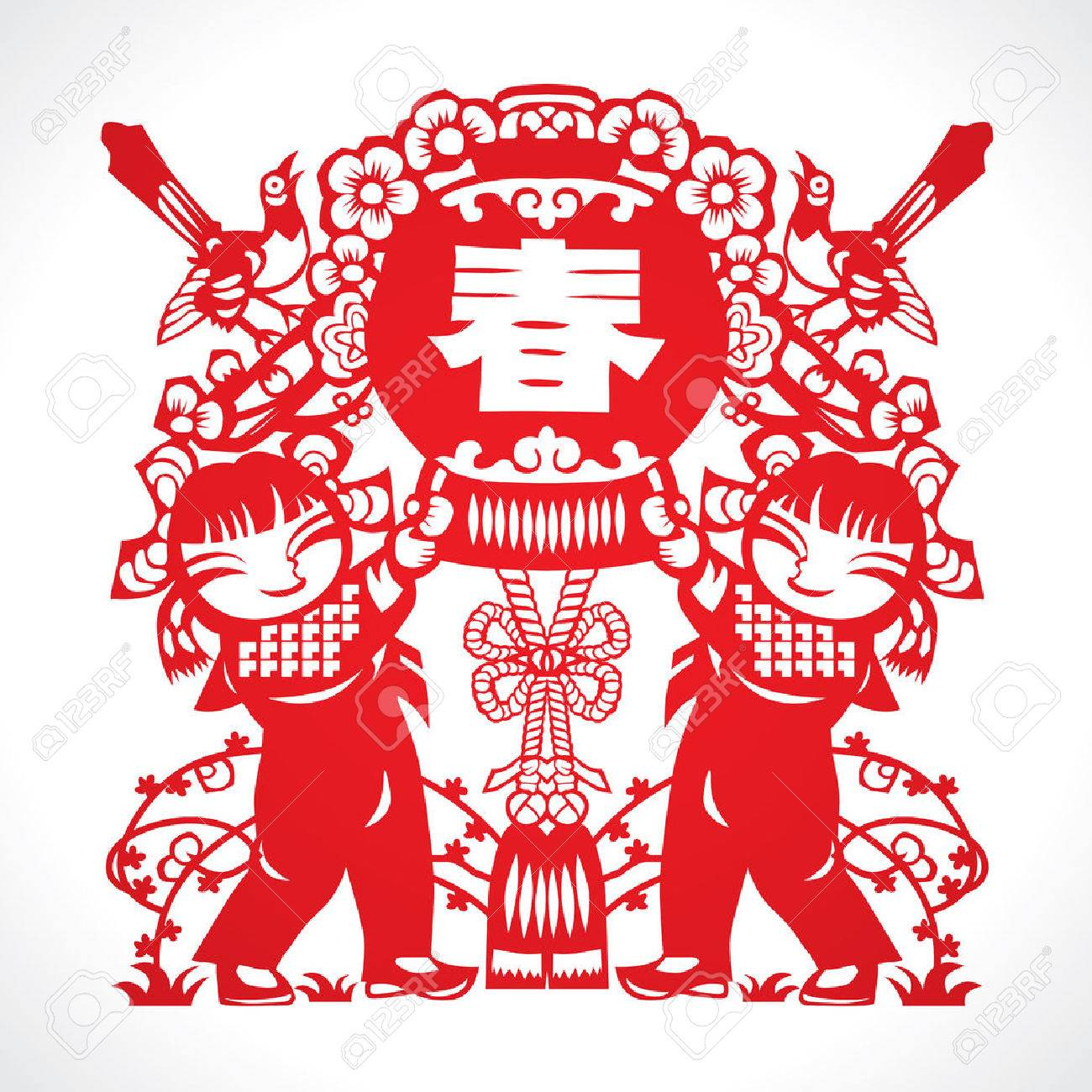Chinese New Year Paper Cut Stock Vector